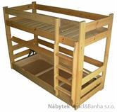 dřevěná patrová postel z masivu ,palanda HIT chalup