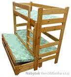 dřevěná patrová postel z masivu, palanda TRIO chalup