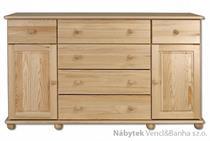 dřevěná komoda, prádelník z masivního dřeva borovice KD124 pacyg