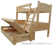 patrová dřevěná trojí postel masivní Imperator chalup