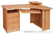 dřevěný psací stůl PC stolek rohový z masivního dřeva drewfilip 1