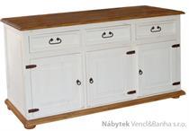 dřevěná rustikální stylová komoda z masivního dřeva borovice Mexicana COM02bíla euromeb