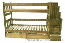 dřevěná patrová dřevěná postel masivní Excelent chalup