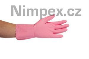 Rukavice gumové JANA, semišované, růžové