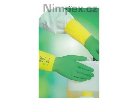 Ochranné rukavice NOLA, přírodní latex + nitrilový latex, semišované, žluté/zelené