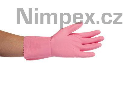 Rukavice gumové domácí JANA, semišované, růžové