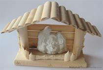 dřevěný Vánoční Betlém roubenka malý drewfil