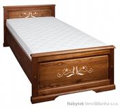 dřevěná jednolůžková postel z masivního dřeva borovice L16 řezba jandr