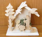 vánoční dřevěný betlem dřevořezba ptáček