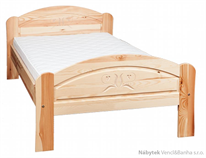 dřevěná dvoulůžková postel z masivního dřeva borovice L2 řezba jandr