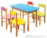 dětský dřevěný jídelní set 1S+4K AD251/252 pacyg