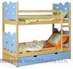 dětská dřevěná patrová postel Rybka modrá chojm