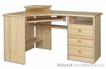 dřevěný rohový psací stůl, PC stolek z masivního dřeva BR107 pacyg