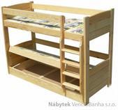 dřevěná patrová postel z masivu, palanda Lux chalup