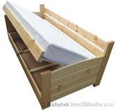 dřevěná jednolůžková postel s úložným prostorem VIP chalup