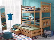 dřevěná patrová postel z masivního dřeva borovice Alan meblano