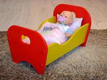 dětská dřevěná hračka postýlka pro panenky minikon