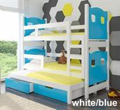 dětská dřevěná patrová rozkládací trojí postel z masivního dřeva Leticia adrk