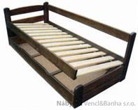 dřevěná dvojlůžková postel s úložným prostorem Grand Prix chalup