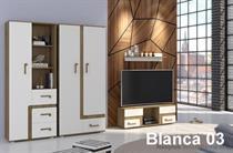 moderní obývací stěna, obývací pokoj z MDF Blanca 04 adrk