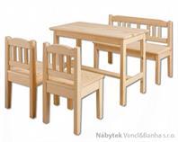 dětský dřevěný jídelní set 1S+2K+1L AD240/241/242 pacyg