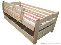 dětská dřevěná jednolůžková postel s úložným prostorem Smyk chalup