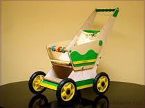 dětská dřevěná hračka dřevěný kočárek pro panenky minikon