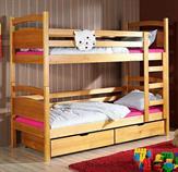 dřevěná patrová postel z masivního dřeva borovice Nikus meblano