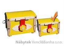 dřevěná skříňka na hračky, truhla malá žlutá