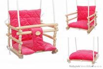 dětská dřevěná závěsná houpačka, polstrovaná Samet tmavě růžová mixdre