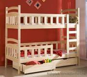 dřevěná patrová postel z masivního dřeva borovice Antos meblano