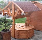 dřevěná zahradní dekorační studna 3 botodre pr.100