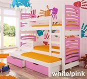 dětská dřevěná patrová rozkládací trojí postel z masivního dřeva Soria adrk