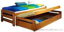 dřevěná rozkládací dvojí postel z masivního dřeva borovice Anis meblano