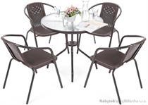 kovový zahradní nábytek Summer Round 80 cm Black/Brown 4+1 homega