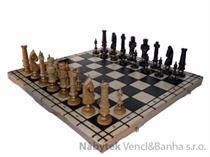 dřevěné šachy vyřezávané ROYAL LUX dubové 104D mad