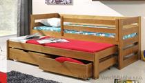 dřevěná rozkládací dvojí postel z masivního dřeva borovice Kubus meblano