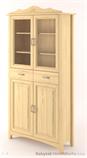 dřevěná prosklená vitrína, knihovna, z masivního dřeva borovice Castello CAS-S-05 drewm