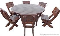 zahradní nábytek dřevěný kulatý 1S+6K K19 jandr