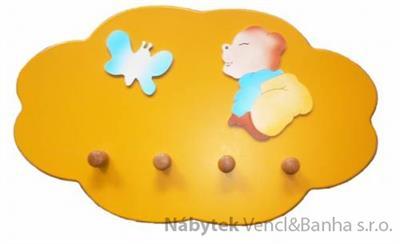 dekorace dětský věšák mráček žlutý