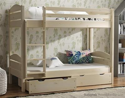 dřevěná patrová postel masivní Petr maršal