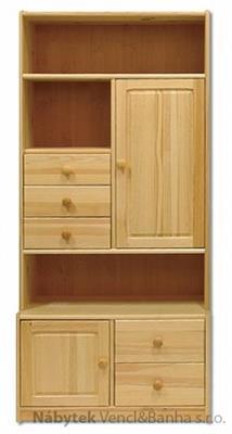 dřevěná vitrína, knihovna, z masivního dřeva borovice KW129 pacyg