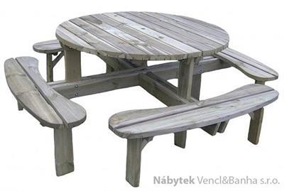 dřevěný zahradní nábytek pivní set kulatý euromeb 19