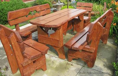 dřevěný zahradní nábytek vencl set 1+2+2 Rozeta 2 botodre