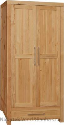 moderní šatní skříň z masivního dřeva borovice dvojí dvířková Del Sol02 II drewfilip