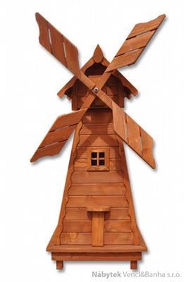 dřevěná dekorace, dřevěný zahradní dekorační větrný mlýn pacyg MO136