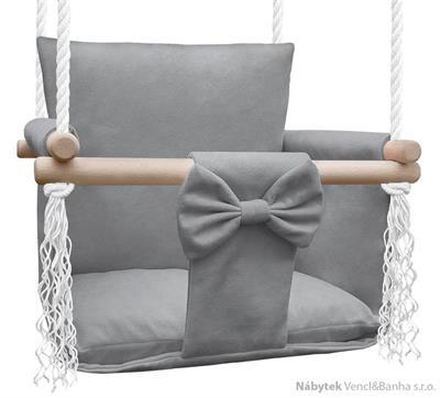dětská dřevěná závěsná houpačka, polstrovaná Nati Magic light grey