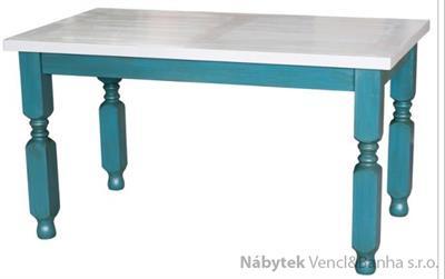 dřevěný rustikální stylový jídelní stůl z masivního dřeva borovice Mexicana MES03 bíla/modrá frézované nohy euromeb