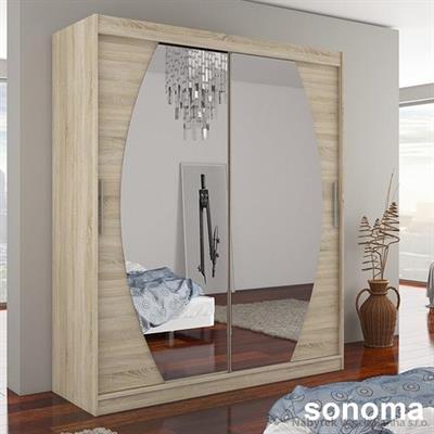moderní dvojí dvířková šatní skříň zrcadlová s posuvnými dvířky Baltimore adrk