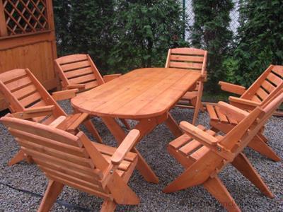 dřevěný zahradní nábytek vencl set 1+6 Skladany 1 botodre